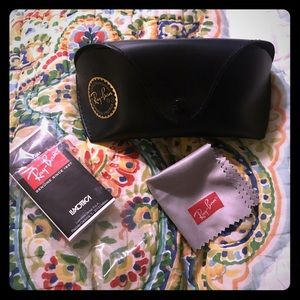 Ray-Ban black sunglasses case and cloth